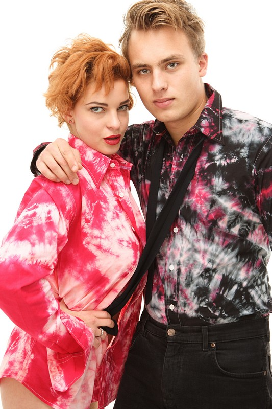 Sophie and Sam in tiedye collection by Desiree Webers